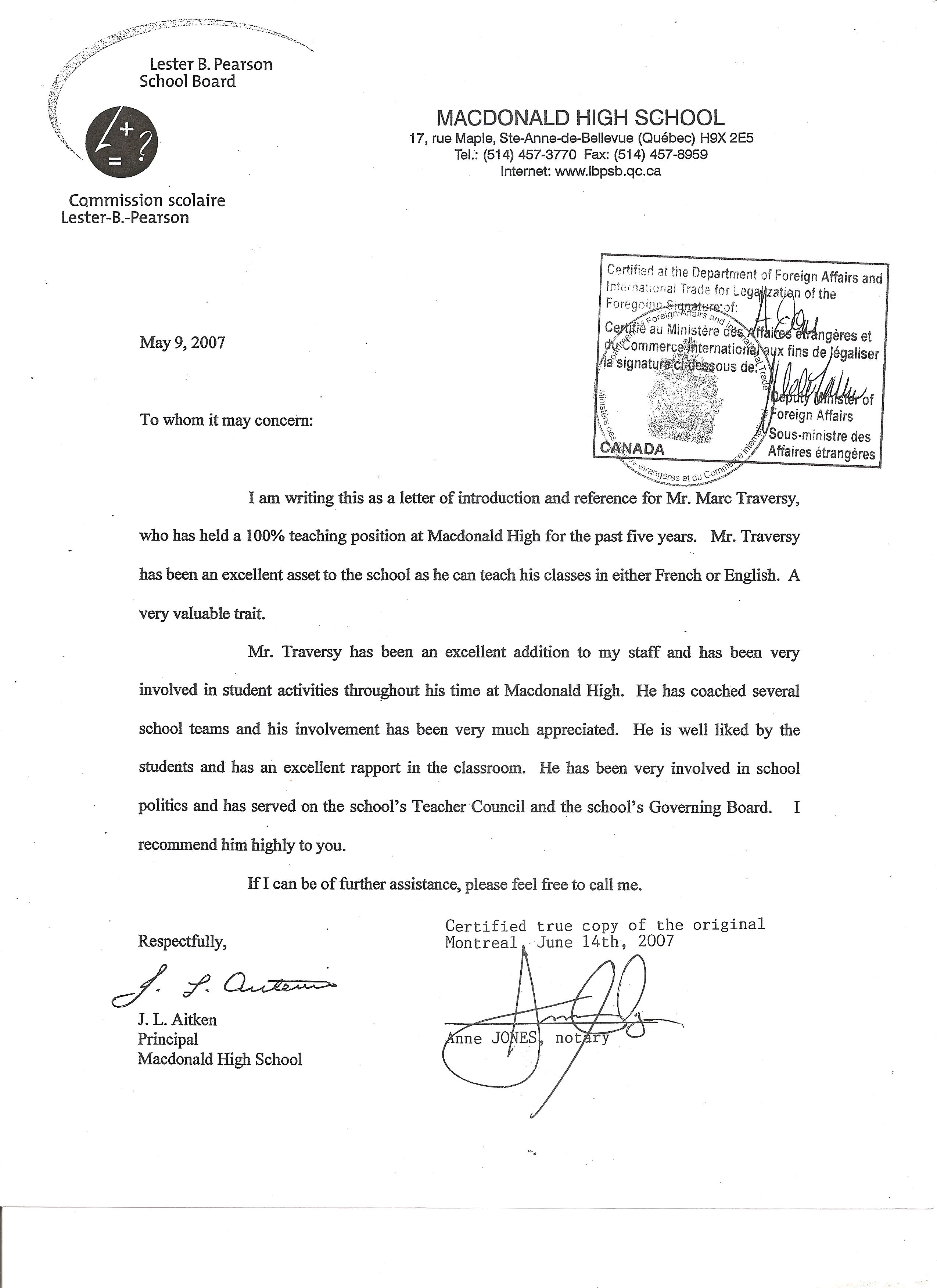 Teacher Recommendation Letter Student Recommendation Letter From